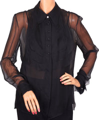 Chanel 2002 Black Silk Chiffon Blouse
