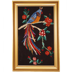 Vintage Chenille Hand Embroidered Bird of Paradise Embroidery Large - Poppy's Vintage Clothing