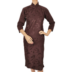 Vintage-Chinese-Cheongsam-Brown-Silk-Dress