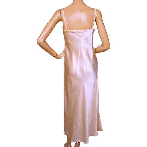 Unique Vintage 1970s Pink Silk Long Slip Hand Embroidered in China Size L BF98