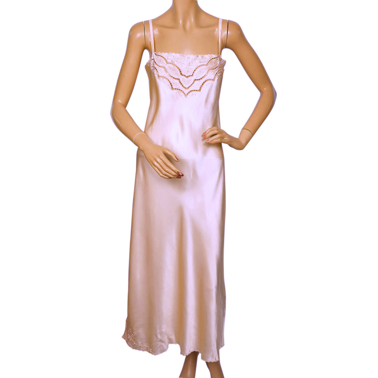 Preferred Vintage 1970s Pink Silk Long Slip Hand Embroidered in China Size L VP29
