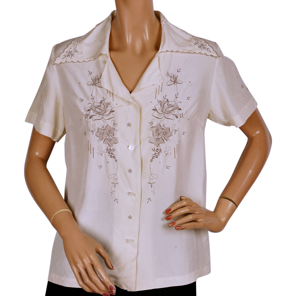 0ed20d819 Vintage 60s Chinese Embroidered Pure Silk Blouse Size M