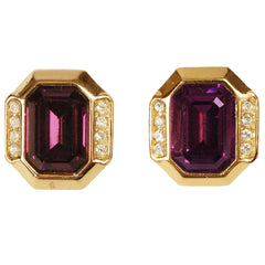 1980s-Christian-Dior-Amethyst-Gold-Toned-Earrings