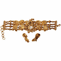 Vintage-Christian-Dior-Baroque-Choker-Necklace-w-Earrings