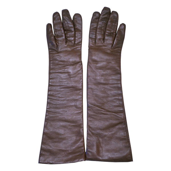 Vintage Christian Dior Long Brown Leather Gloves Made in France Ladies Size 6 - Poppy's Vintage Clothing
