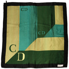 Vintage Christian Dior Scarf CD Logo Papillon Silk Twill Square Colour Block 1970s - Poppy's Vintage Clothing