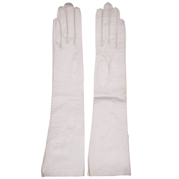 Vintage Christian Dior Long White Kid Leather Gloves Made in France Ladies Size 6 - Poppy's Vintage Clothing