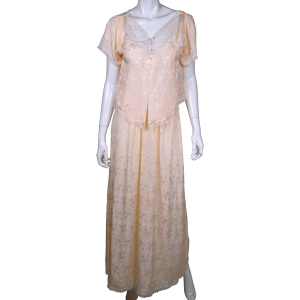 Vintage Christian Dior Nightgown with Bed Jacket Size Small - Poppy's Vintage Clothing
