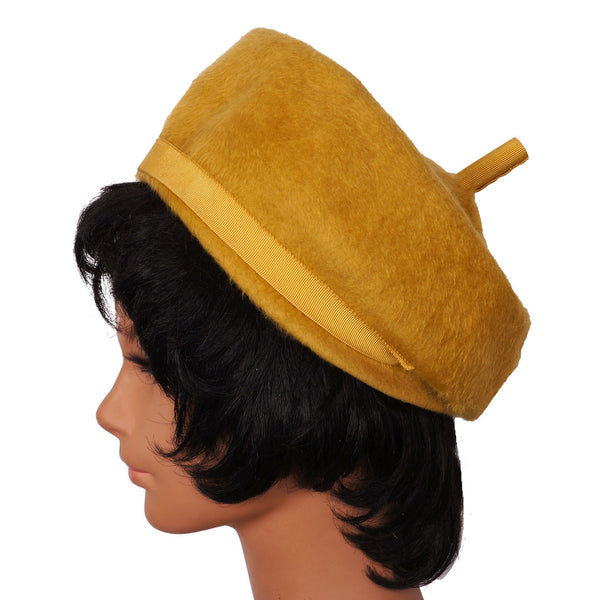 Vintage Christian Dior Hat Ochre Felt 1960s Pillbox Form Ladies Size M - Poppy's Vintage Clothing