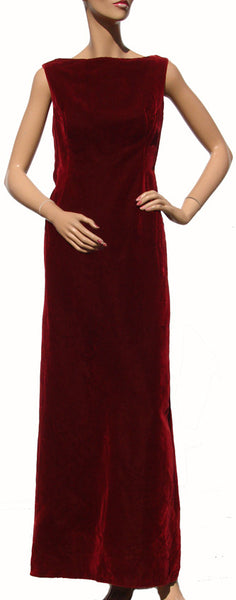 1960s Vintage Evening Gown by Christian Dior in Maroon Velvet - Poppy's Vintage Clothing