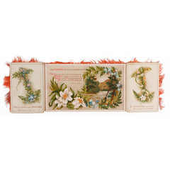 Victorian Religious Christmas Card Double Sided Folding Fringed Decoration - Poppy's Vintage Clothing