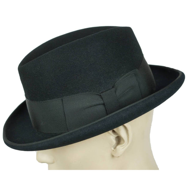 Vintage Churchill Homburg Black Fedora Hat Hutton Model Resistol Mens Sz 7 1/2 - Poppy's Vintage Clothing