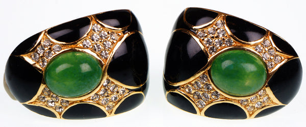 Ciner Gold Toned Earrings with Faux Jade Cabuchons Rhinestones & Black Enamel - Poppy's Vintage Clothing