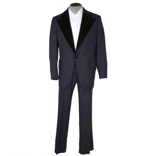 Vintage 1972 Mens Mohair Wool Tuxedo Suit Navy Blue Classy Formal Wear Size 42 - Poppy's Vintage Clothing