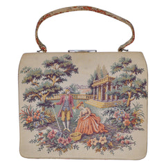 Vintage 1950s Tapestry Handbag Purse Colonial Courting Couple Scene - Poppy's Vintage Clothing
