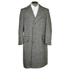 Vintage 1960s Mens Mod Overcoat Houndstooth Connemara Tweed Coat B&W Size L - Poppy's Vintage Clothing