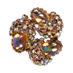 Vintage Continental AB Rhinestone Brooch w Iridescent Cabuchons 1950s - Poppy's Vintage Clothing