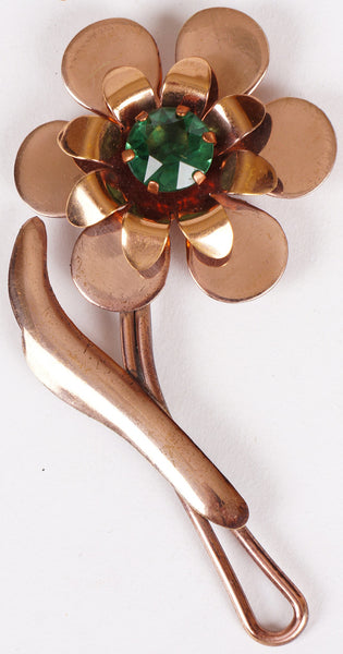 Vintage Copper Flower Brooch with Green Center Stone 1940s / 50s - Poppy's Vintage Clothing