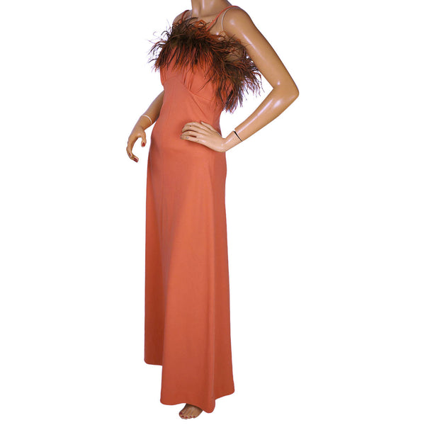 Vintage 1970s Disco Dress Coral Polyester with Ostrich Feather Trim Size M - Poppy's Vintage Clothing