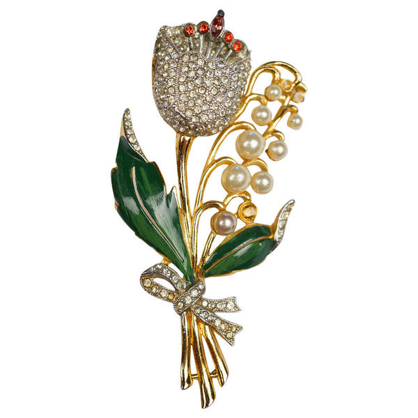 Vintage 1940s Rhinestone Trembler Flower Brooch Unsigned Coro Model - Poppy's Vintage Clothing