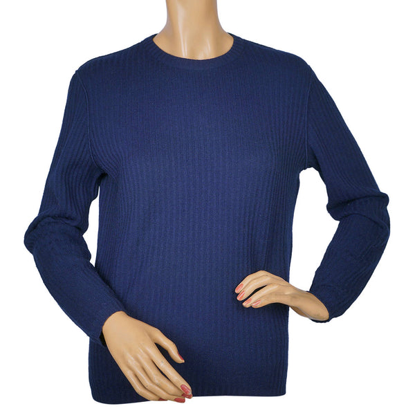 Vintage Courreges Blue Ribbed Knit Sweater 1970s Pullover Wool Blend Ladies M - Poppy's Vintage Clothing