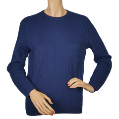 Vintage-Courreges-Blue-Ribbed-Pullover-Sweater