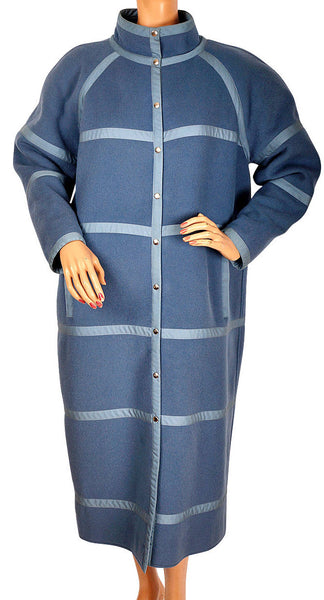 Vintage 1970s Courreges Paris Blue Wool Coat Made in France Ladies Size B - Poppy's Vintage Clothing