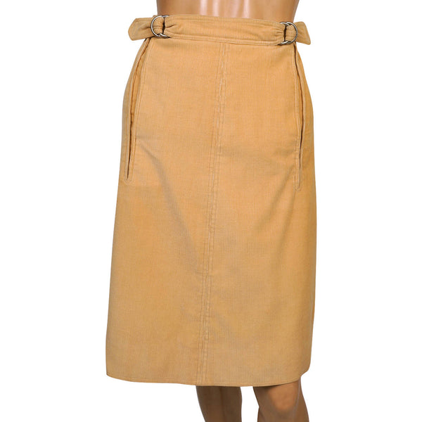 Vintage 1970s Courreges Paris Corduroy Skirt Sand Coloured Cotton Size 00 Small - Poppy's Vintage Clothing