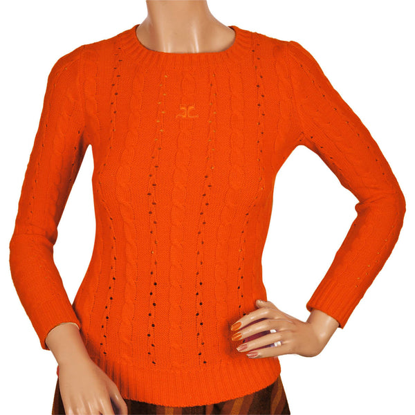 Vintage 70s Courreges Sweater Orange Cable Knit with Logo Top Size S - Poppy's Vintage Clothing