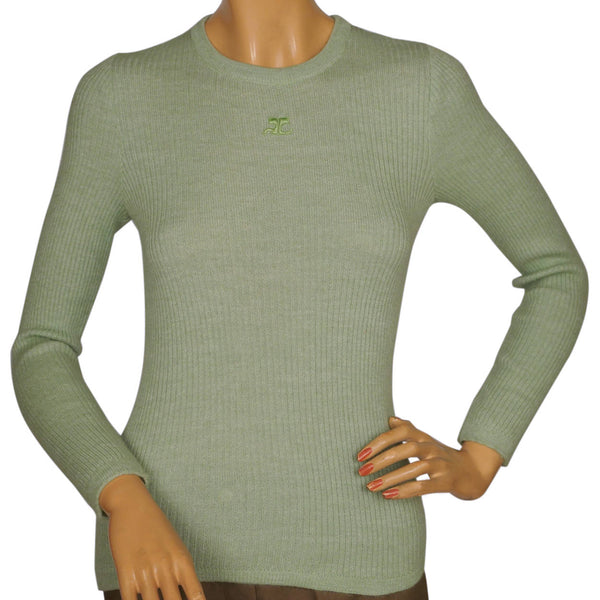 Vintage 1970s Courreges Paris Sweater Top Green Ribbed Knit with Logo Size S - Poppy's Vintage Clothing
