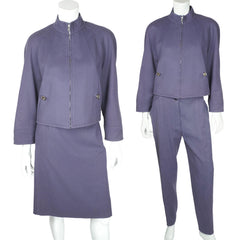 1980s Vintage Courreges Suit 3 Piece Skirt & Pants Size 44 - Poppy's Vintage Clothing