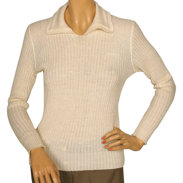 Vintage 1970s Courreges Paris Off White Pullover Knit Top Ladies Size S - Poppy's Vintage Clothing