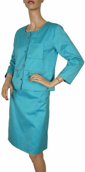 Andre Courreges Vintage 1980s Suit Blue Cotton Size S - Poppy's Vintage Clothing