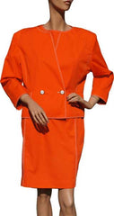 80s Vintage Dress by Andre Courreges in Orange Cotton Blend