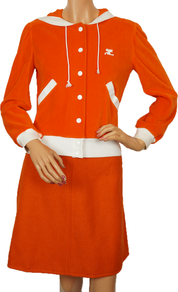 Vintage 70s Courreges Paris Orange Velour Hoodie Ladies Size S - Poppy's Vintage Clothing