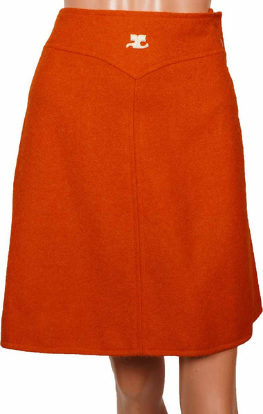 70s Vintage Skirt by Andre Courreges in Orange Wool - Poppy's Vintage Clothing