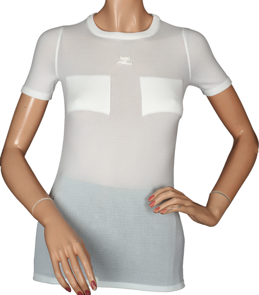 1970s Courreges White Nylon Top