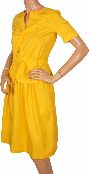 70s Courreges Yellow Top & Skirt Ensemble