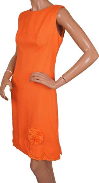 60s Dress by Cover Girl of Miami in Orange Linen