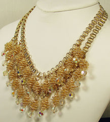 Spiral Necklace Crystal Drops Gold Tone 1960s - Poppy's Vintage Clothing
