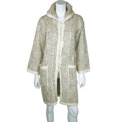 Vintage Cuddle Knit 70s Hooded Sweater Coat