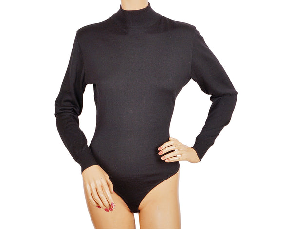Azzedine Alaia Black Wool Bodysuit - M - Poppy's Vintage Clothing