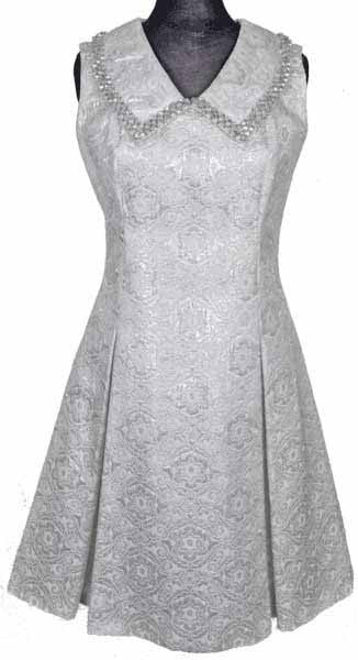 Vintage 1960s Dress White & Silver Brocade - Poppy's Vintage Clothing