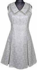 1960s White & Silver Brocade Dress by Daymor