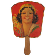 Art Deco Lady Advertising Fan 1920s St Hyacinthe Quebec Restaurant Chez Harvey - Poppy's Vintage Clothing
