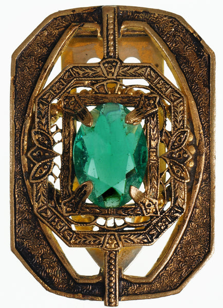Art Deco Dress Clip with Emerald Green Glass Stone in a Brass Setting - Poppy's Vintage Clothing