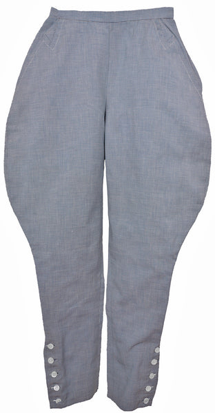 1930s Ladies Cotton Jodhpurs Leisure Wear Pants Blue & White Stripes - Poppy's Vintage Clothing