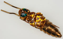 SOLD Vintage Rhinestone Wasp Clip Brooch Marked Déposé Made in France Pin - Poppy's Vintage Clothing