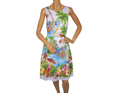 Tropical Print Cotton Dress - Summer Dress by Derhy - Poppy's Vintage Clothing