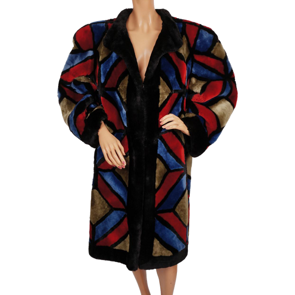 Vintage 1980s Christian Dior Shearling Fur Coat - Multicoloured Patchwork - Poppy's Vintage Clothing